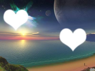deux coeur sur la plage