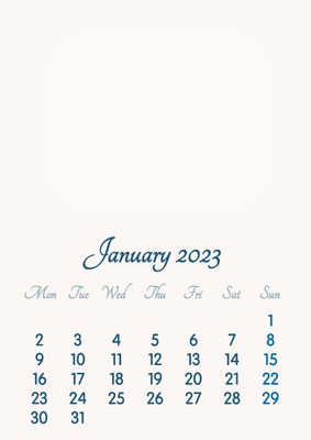 January 2023 // 2019 to 2046 // VIP Calendar // Basic Color // English
