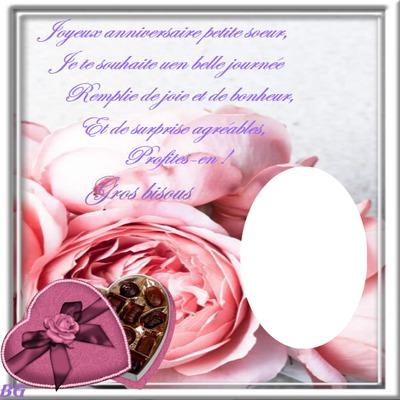 Photo Montage Cadre De Rose Avec Texte Perso Pour Un Joyeux