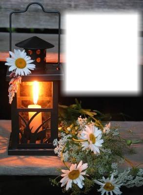 Coucher de soleil-lanterne-chandelle-marguerites