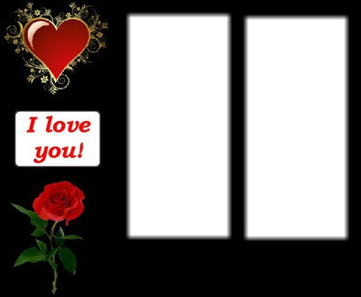 Photo montage I love you rose heart 2 - Pixiz