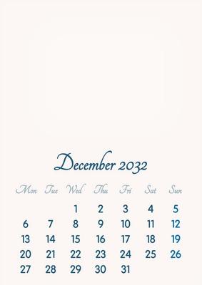 December 2032 // 2019 to 2046 // VIP Calendar // Basic Color // English