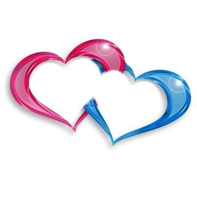 deux coeurs rose et bleu enlacés