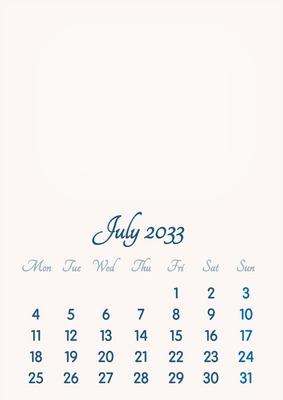 July 2033 // 2019 to 2046 // VIP Calendar // Basic Color // English