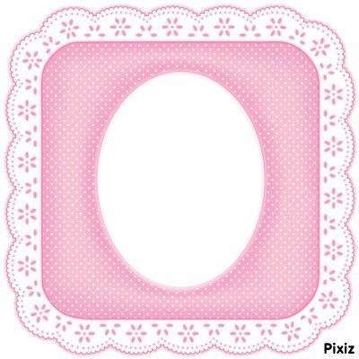 cadre dentelle rose 1 photo
