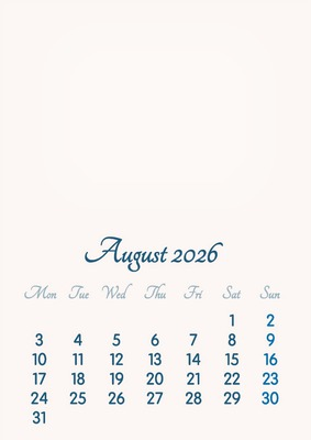 August 2026 // 2019 to 2046 // VIP Calendar // Basic Color // English
