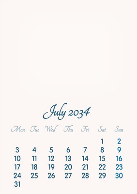 July 2034 // 2019 to 2046 // VIP Calendar // Basic Color // English