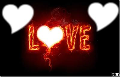 LOVE coeur en feu + 3 photo