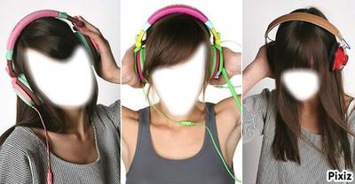 3 filles avec un casque