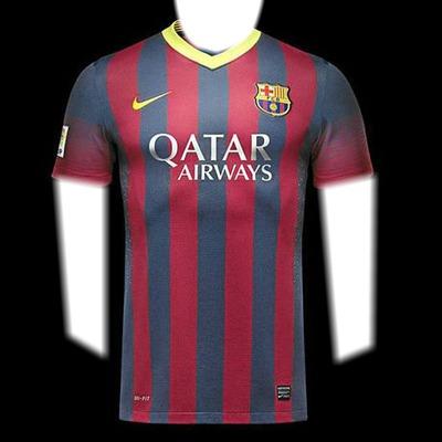 Visage et les bras du t-shirt F.C. BARCELONA