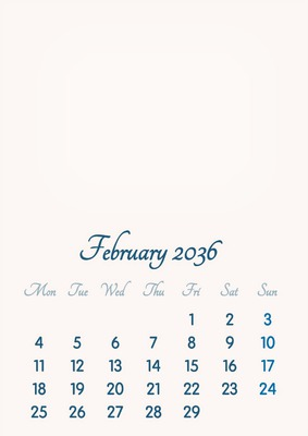 February 2036 // 2019 to 2046 // VIP Calendar // Basic Color // English