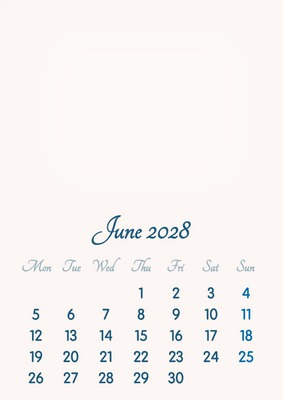 June 2028 // 2019 to 2046 // VIP Calendar // Basic Color // English