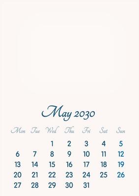 May 2030 // 2019 to 2046 // VIP Calendar // Basic Color // English