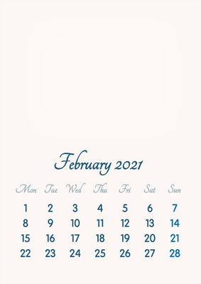 February 2021 // 2019 to 2046 // VIP Calendar // Basic Color // English