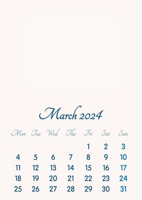 March 2024 // 2019 to 2046 // VIP Calendar // Basic Color // English