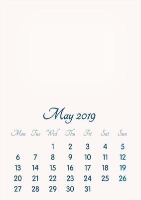 May 2019 // 2019 to 2046 // VIP Calendar // Basic Color // English