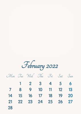 February 2022 // 2019 to 2046 // VIP Calendar // Basic Color // English