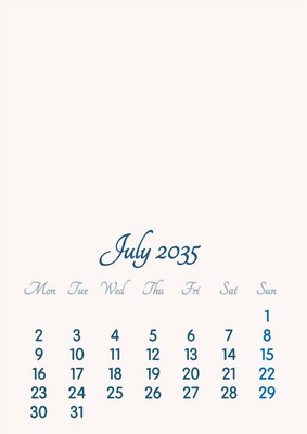 July 2035 // 2019 to 2046 // VIP Calendar // Basic Color // English