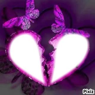 coeur brisé avec papillons