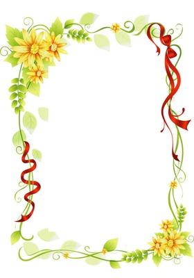 Cadre-fleurs jaunes-rubans rouges