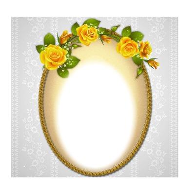 cadre ovale fleurs jaunes