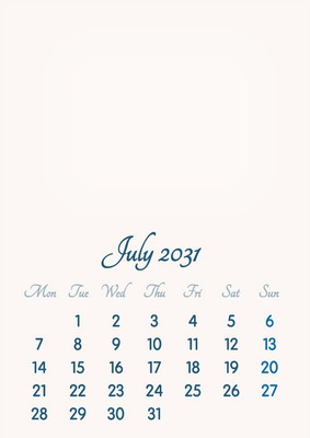 July 2031 // 2019 to 2046 // VIP Calendar // Basic Color // English
