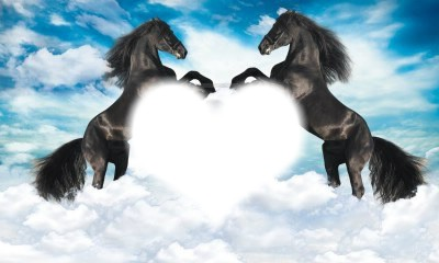coeur et cehvaux dans le ciel