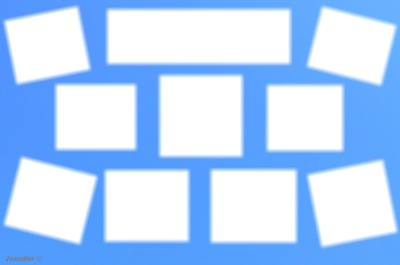 cadre 10 photos fond bleu