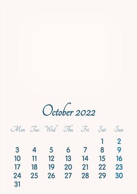 October 2022 // 2019 to 2046 // VIP Calendar // Basic Color // English