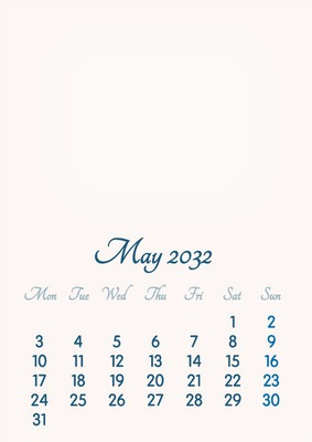May 2032 // 2019 to 2046 // VIP Calendar // Basic Color // English