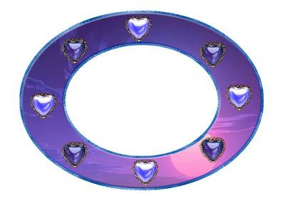 1 ovale violette avec des coeurs 1 photo