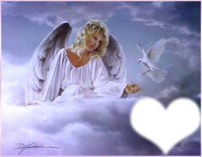 ange colombe et coeur