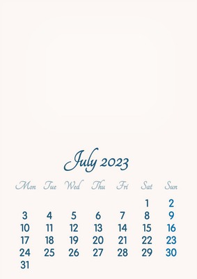 July 2023 // 2019 to 2046 // VIP Calendar // Basic Color // English