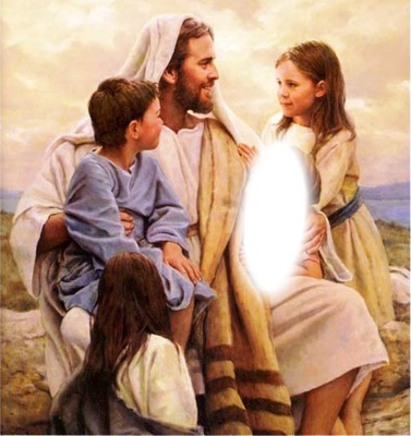 Fotomontagem Jesus e as crianças - Pixiz