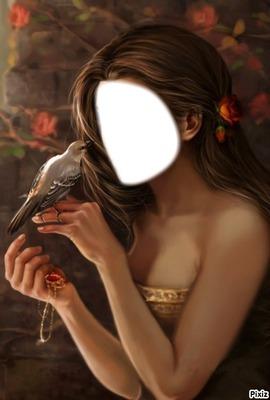 femme a l'oiseau