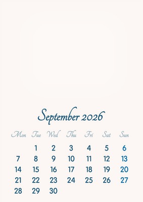 September 2026 // 2019 to 2046 // VIP Calendar // Basic Color // English