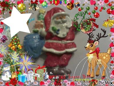 Joyeux Noël avec le père Noël peint par Gino GIBILARO et déco picmix