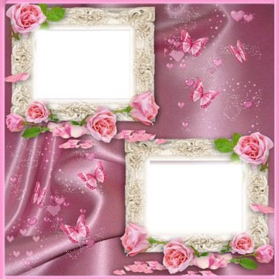 2 photos cadre rose coeur iena