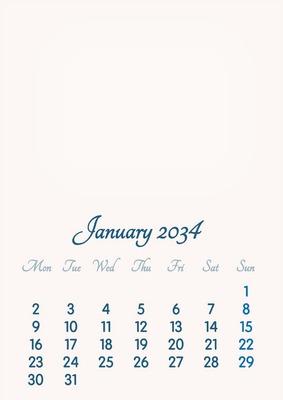 January 2034 // 2019 to 2046 // VIP Calendar // Basic Color // English