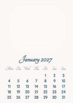 January 2027 // 2019 to 2046 // VIP Calendar // Basic Color // English