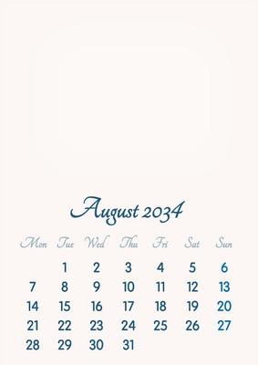 August 2034 // 2019 to 2046 // VIP Calendar // Basic Color // English