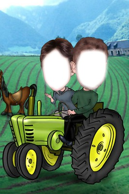 caricature couple tracteur