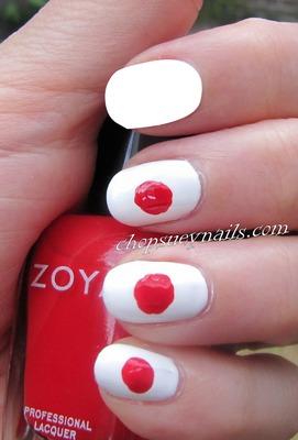 Japan flag Nail Art 2