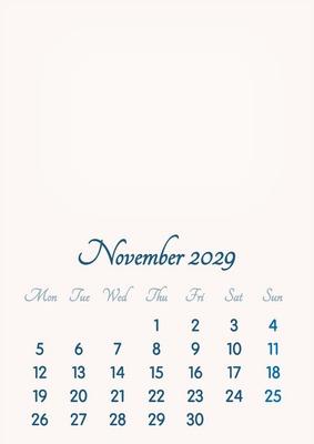 November 2029 // 2019 to 2046 // VIP Calendar // Basic Color // English