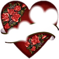 2 cadres coeur dans un coeur avec des roses