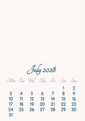July 2028 // 2019 to 2046 // VIP Calendar // Basic Color // English
