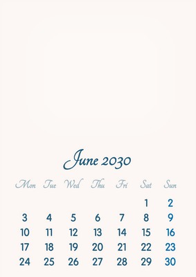 June 2030 // 2019 to 2046 // VIP Calendar // Basic Color // English