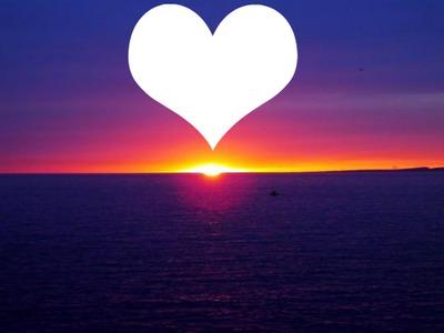 Montage photo coucher soleil coeur - Pixiz