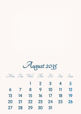 August 2035 // 2019 to 2046 // VIP Calendar // Basic Color // English