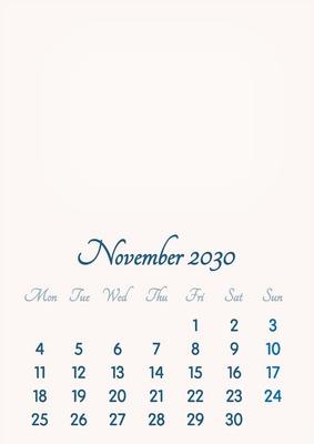 November 2030 // 2019 to 2046 // VIP Calendar // Basic Color // English
